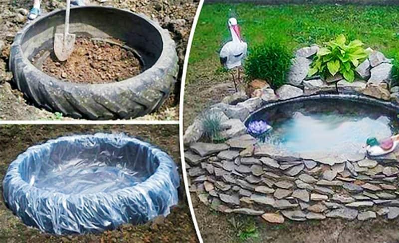 Как сделать пруд из покрышки